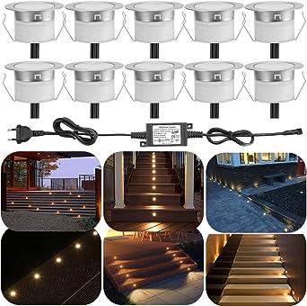 Juego de 10 exterior Terraza Luz LED Foco de suelo IP67 resistente al agua empotrables Cocina Jardín LED Lámpara Dc12 V Ø30 mm 0.6 W: Amazon.es: Iluminación