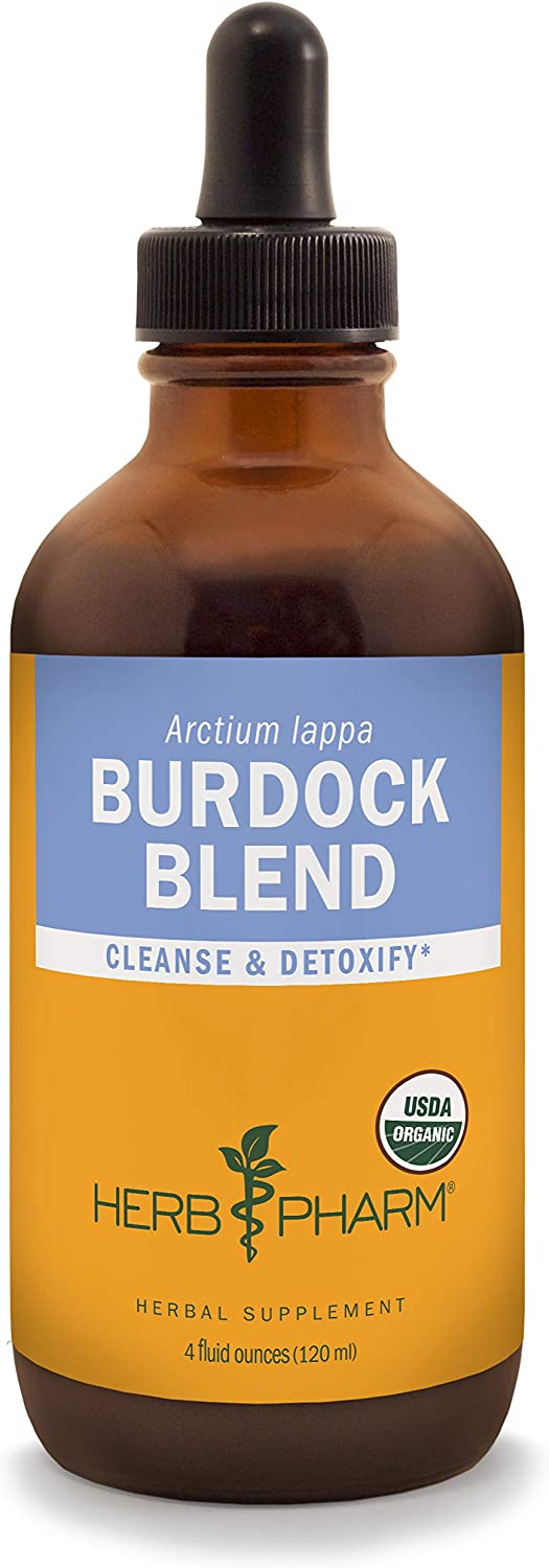 Herb Pharm Certified Organic Burdock Blend Liquid Extract to Support Cleansing Detoxifying – 4 Ounce