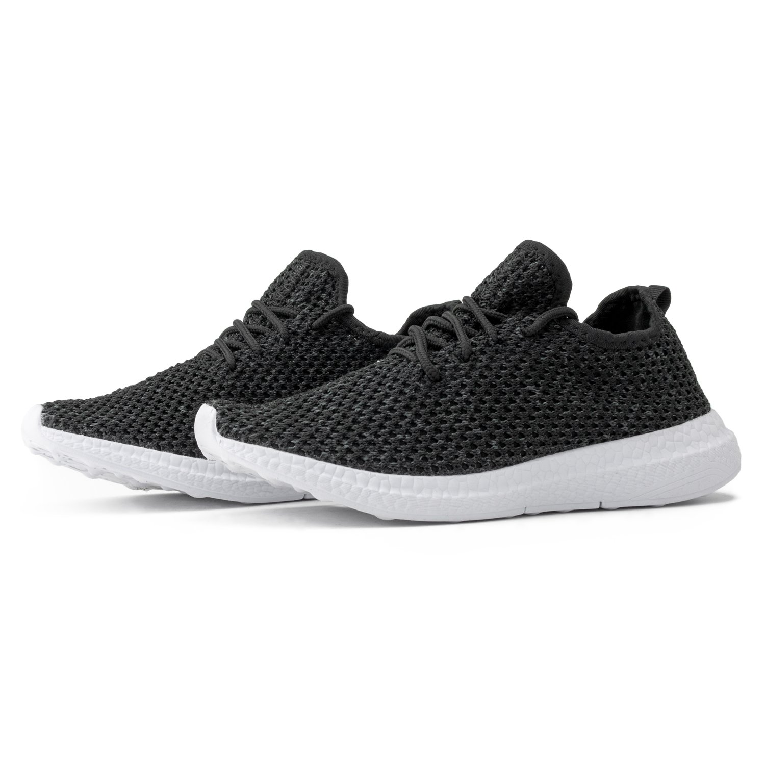 RF ROOM OF FASHION Women's Flyknit Lace Up Fashion Sneaker - Light Weight Slip On Walking Flats - Low Top Casual Sneakers Black (9)