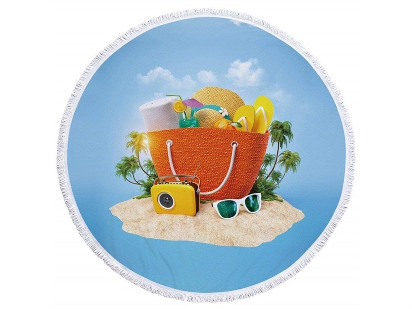 kxrzu Gracioso Patrón de bolsa redonda Impreso toalla de playa con borlas Super absorbente de agua toalla de estilo informal suave microfibra 150x150cm: ...