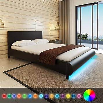 WEILANDEAL Cama de Cuero Artificial Negro LED 140x200cm +colchon viscoelast Camas Dimensiones: 217 x 145 x 68 cm (Largo x Ancho x Alto): Amazon.es: Hogar