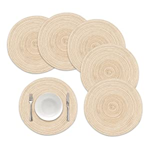 famibay Round Placemats, Round Braided Place Mats for Dining Table Heat Insulation Table Mats for Kitchen 15 Inches (Set of 6, Beige)
