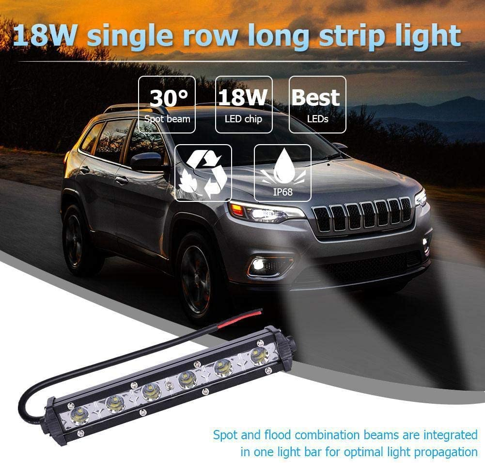 18W 6000K LED Work Light Bar Driving Lamp Fog Off Road SUV Car Boat Truck 4WD