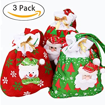 7b1b54ff273c Christmas Decorative Bags,Candy Bags Cute Santa Claus Drawstring Gift Treat  Bag Reusable Fabric Bag Pocket Xmas Stocking Handbag Christmas Ornaments ...