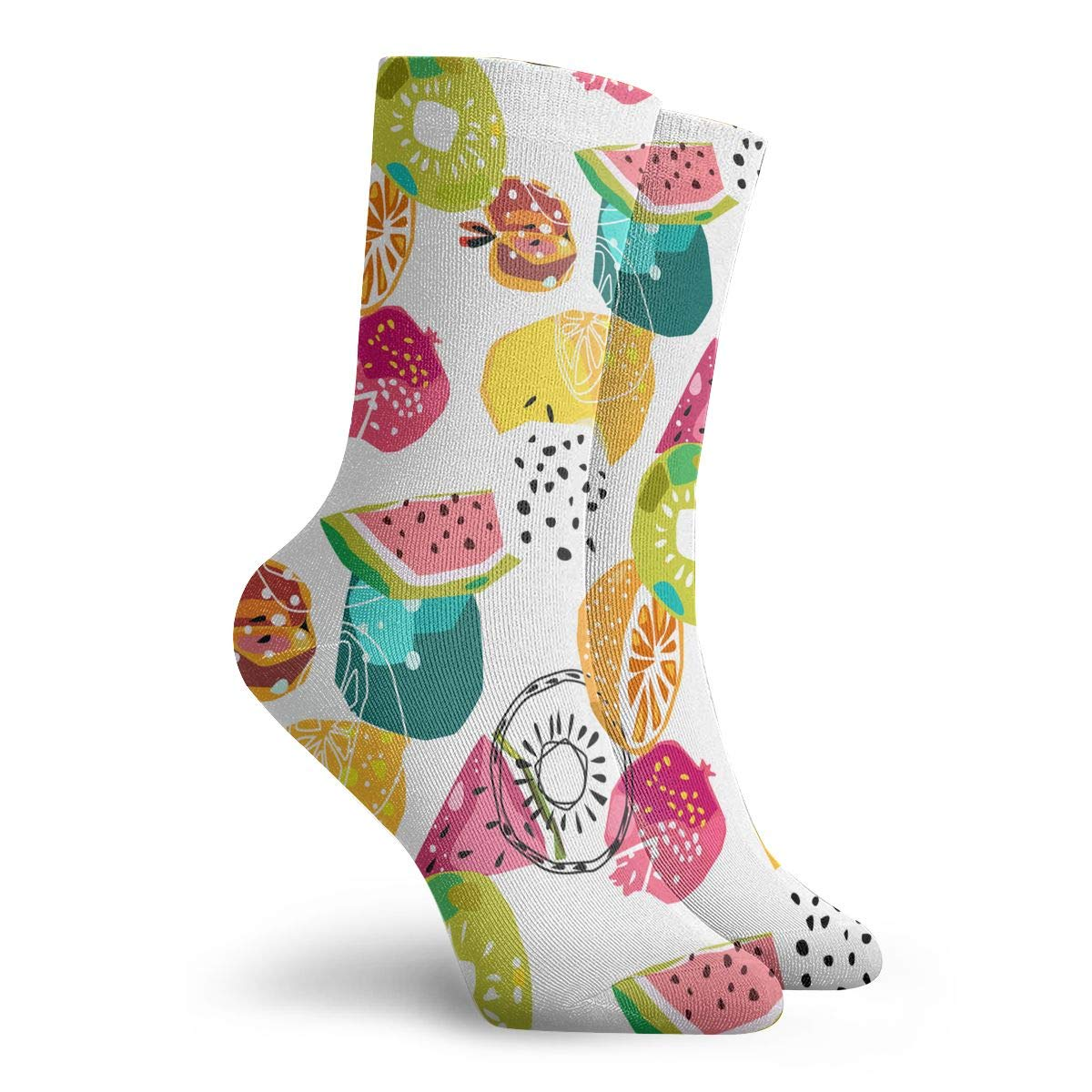 Vector Seamless Pattern Of Fruits In Cool Graphic Style Fashion Dress Socks Short Socks Leisure Travel 11.8 Inch