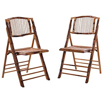 Nuevo 2 Pcs bambú plegable sillas Patio jardín boda fiesta ...