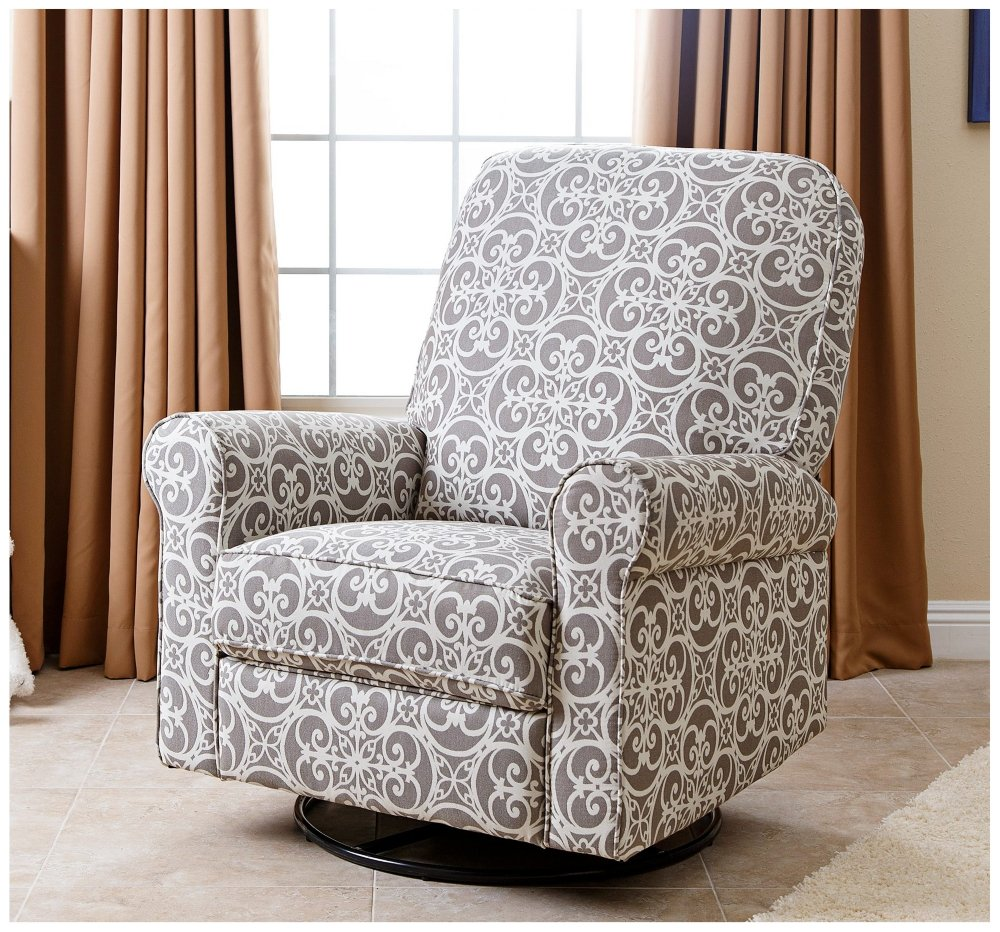 Amazon.com: Abbyson Living Sydney Fabric Swivel Glider Recliner Chair In  Gray: Kitchen U0026 Dining
