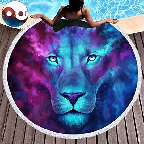Tomeco Firstborn by JoJoesArt Large Round Beach Towel for Adults Lion Printed Microfiber Toalla Tassel 150cm