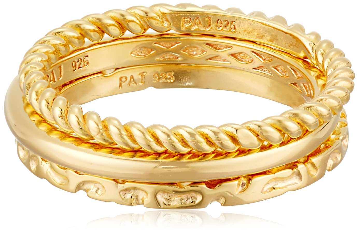 18k Yellow Gold Plated Sterling Silver 3 Piece Stacking Ring Set including Braid, High Polish and Twist Styles, Size 7
