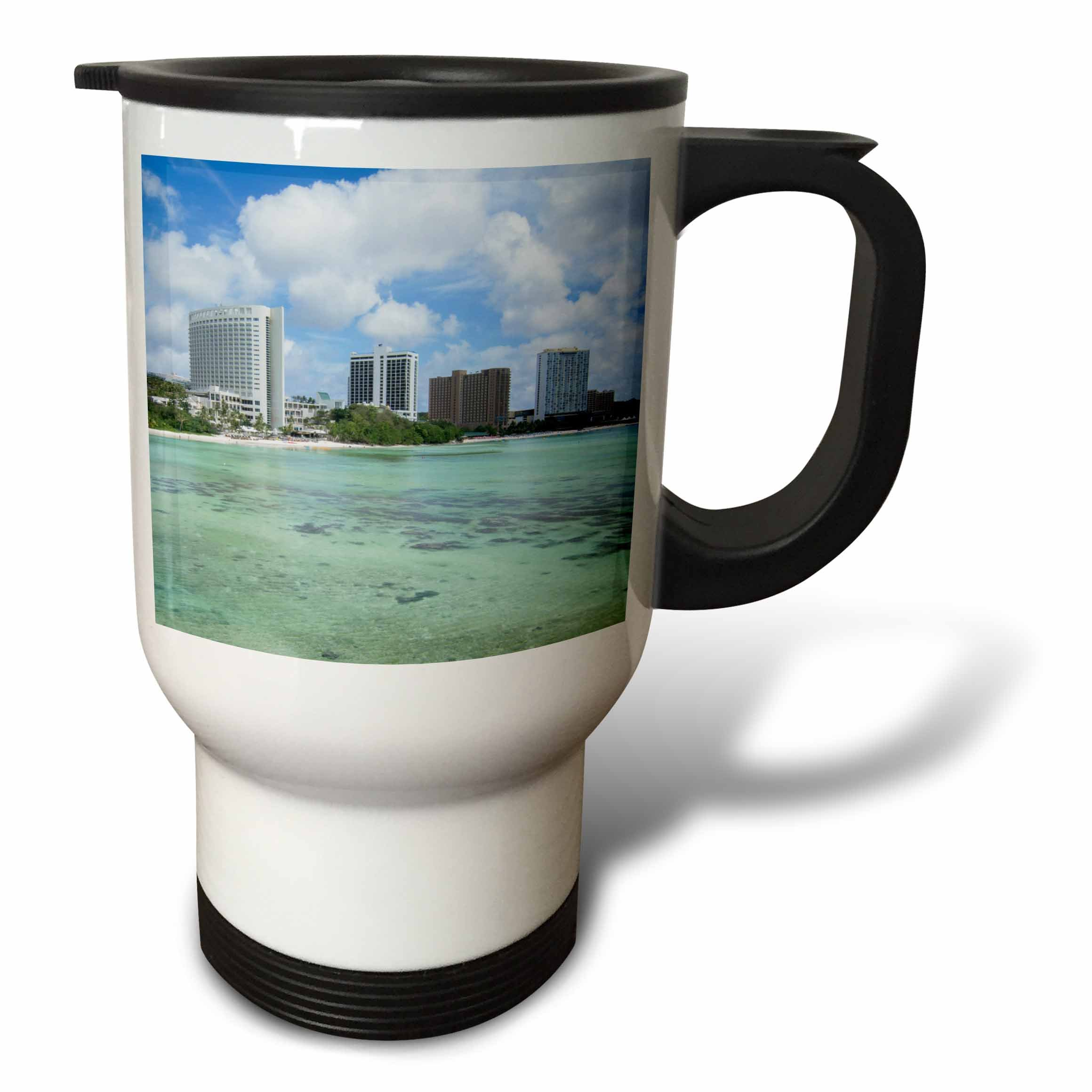 3dRose Danita Delimont - Cities - Guam Territory. Hotels line beach with clear tropical waters. - 14oz Stainless Steel Travel Mug (tm_278126_1)