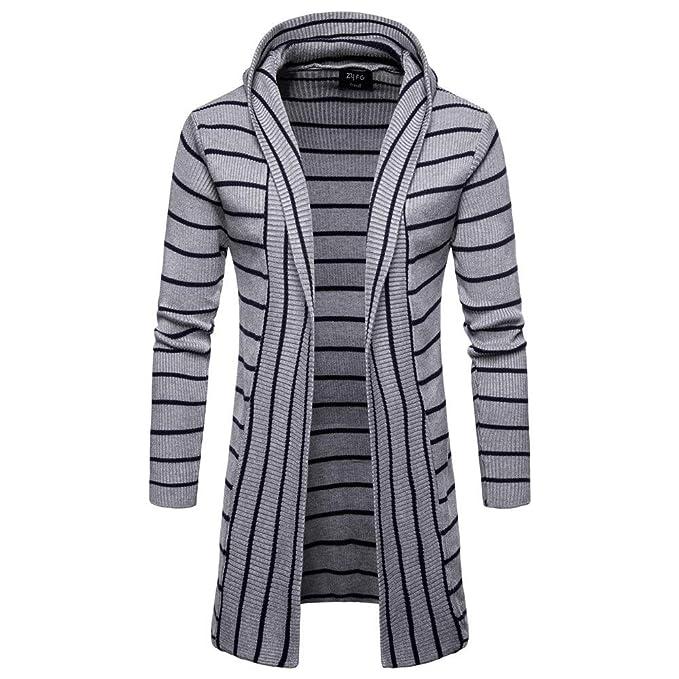 DEELIN Moda De Los Hombres Casual Color SóLido Punto De Rayas Chaqueta De Abrigo Cardigan con