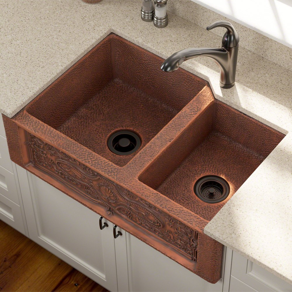 copper sinks kitchen mr direct 911 offset bowl copper apron sink review 2586