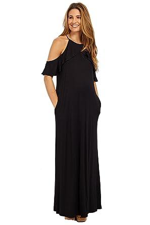 43888795e71 PinkBlush Maternity Black Ruffle Trim Open Shoulder Maxi Dress ...