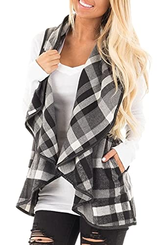 Mujeres Vintage Plaid Amplia Solapa Chaleco Chaleco Outerwear Cardigan