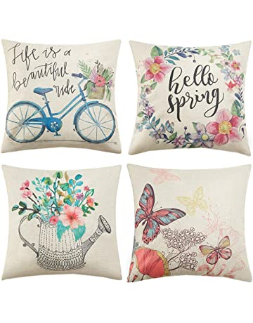 49bfb63e75b Anickal Spring Decorations Set of 4 Decorative Pillow Covers 18 x 18 Hello  Spring Wreath Bicycle