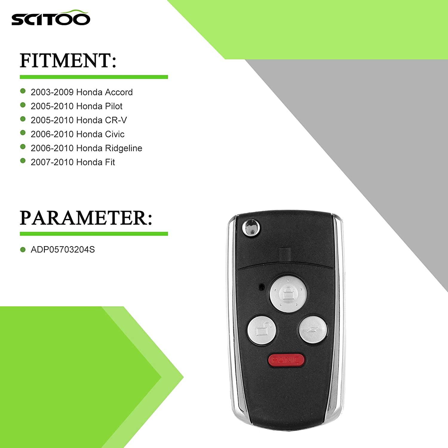 SCITOO Compatible with Keyless Remote Case 1 PC Replacement Remote Flip Folding 3+1 4Button Keyless Entry Fob Key Shell Case fit HONDA Accord 2003 2004 2005 2006 2007 2008 2009