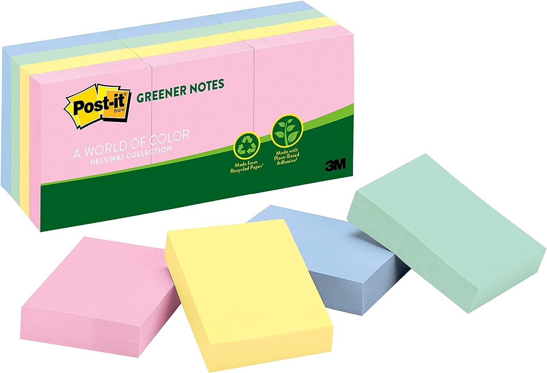 3M Post-It recycl/é Notes 1-3//8X 1-7//8 100 feuilles 12//Pkg-assortiment de couleurs Pastel