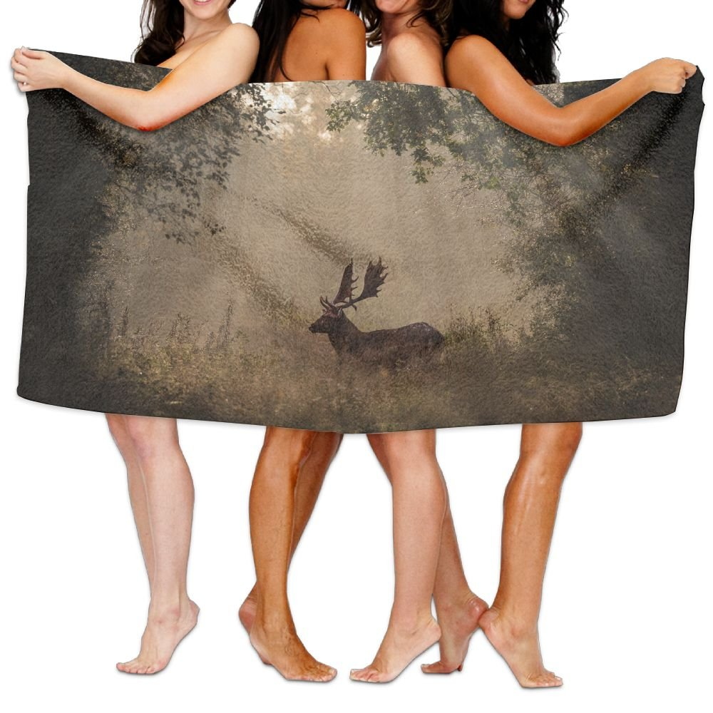 PengMin Deer In The Woods Premium 100% Polyester Large Bath Towel, Pool And Bath Towel (80'' X 130'') Natural, Soft, Quick Drying by PengMin (Image #1)