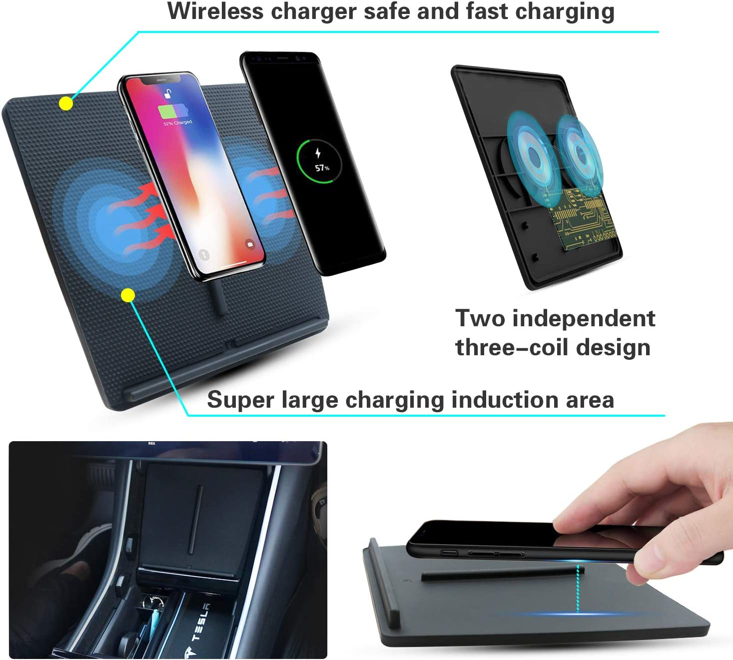 YEE PIN M3 Center Console Smartphone Charging Pad for Any Qi Enable Phone Upgraded Tesla 3 Charging Pad Wireless Phone Charger Model 3 Wireless Charger for Tesla Model 3 2018 2019