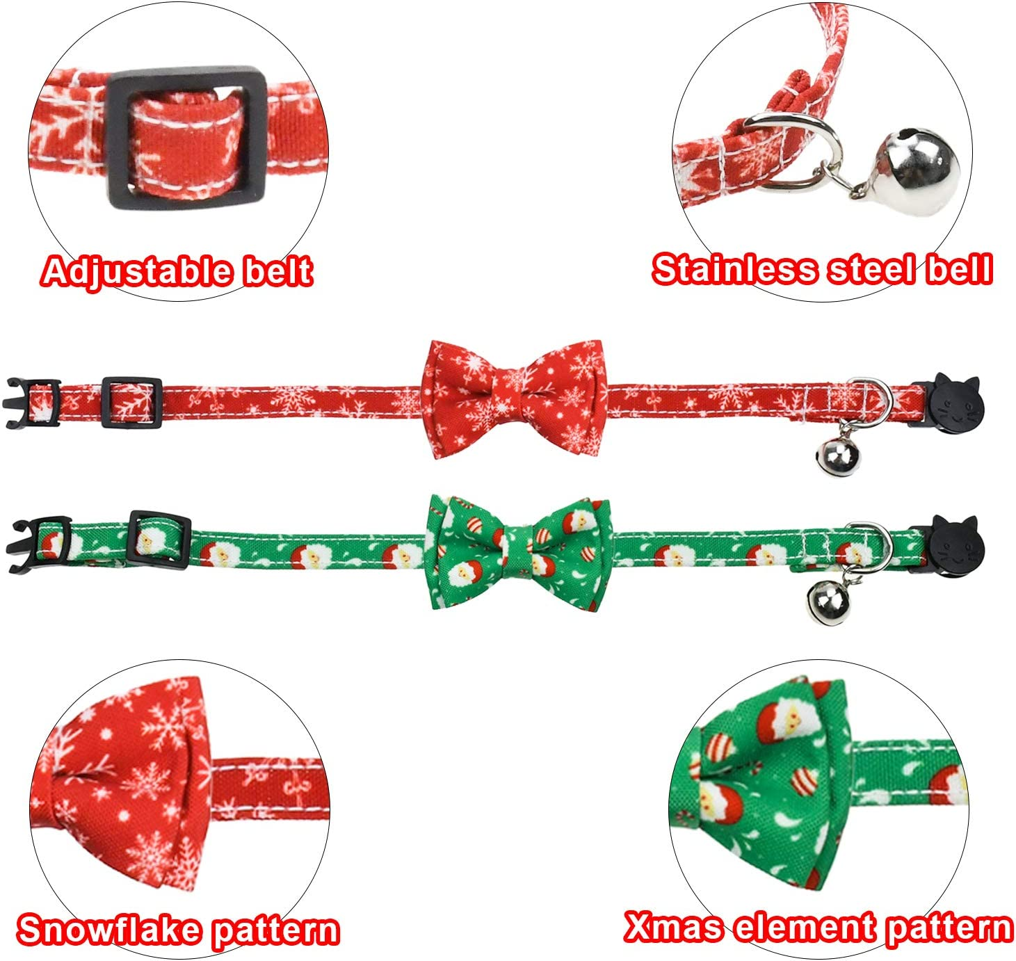 Malier 2 Pack Christmas Cat Collar Breakaway with Bell and Cute Bow Tie Wave Point Printing Design Bow Patterns for Cats Kitty Kitten Puppy