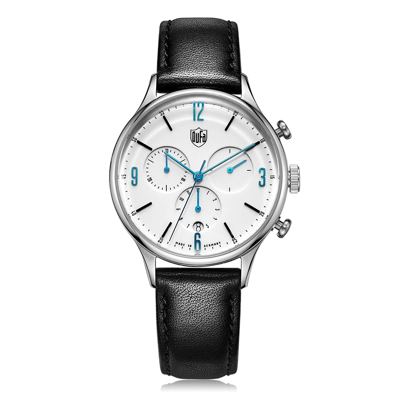 Dufa Deutsche Uhrenfabrik Unisex-Armbanduhr Chronograph Quarz Leder Van Der Rohe Chrono DF-9002-03