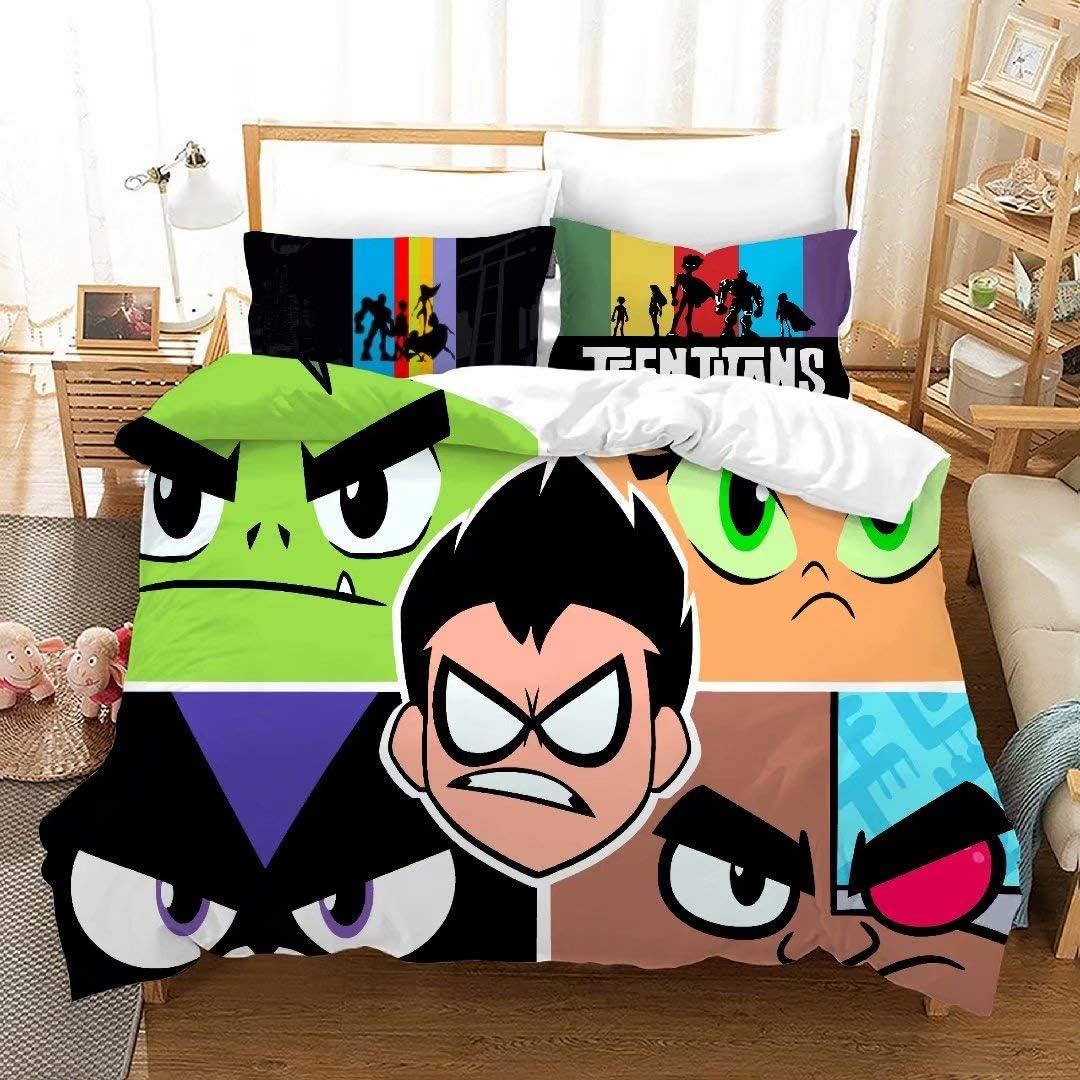 Amazon Com 3d Teen Titans Go Bedding Set Kids Ultra Soft Mircofiber Duvet Cover Set Cartoon 3 Piece Bed Set 1 Duvet Cover 2 Pillowcase Best Gift For Boys Home Kitchen