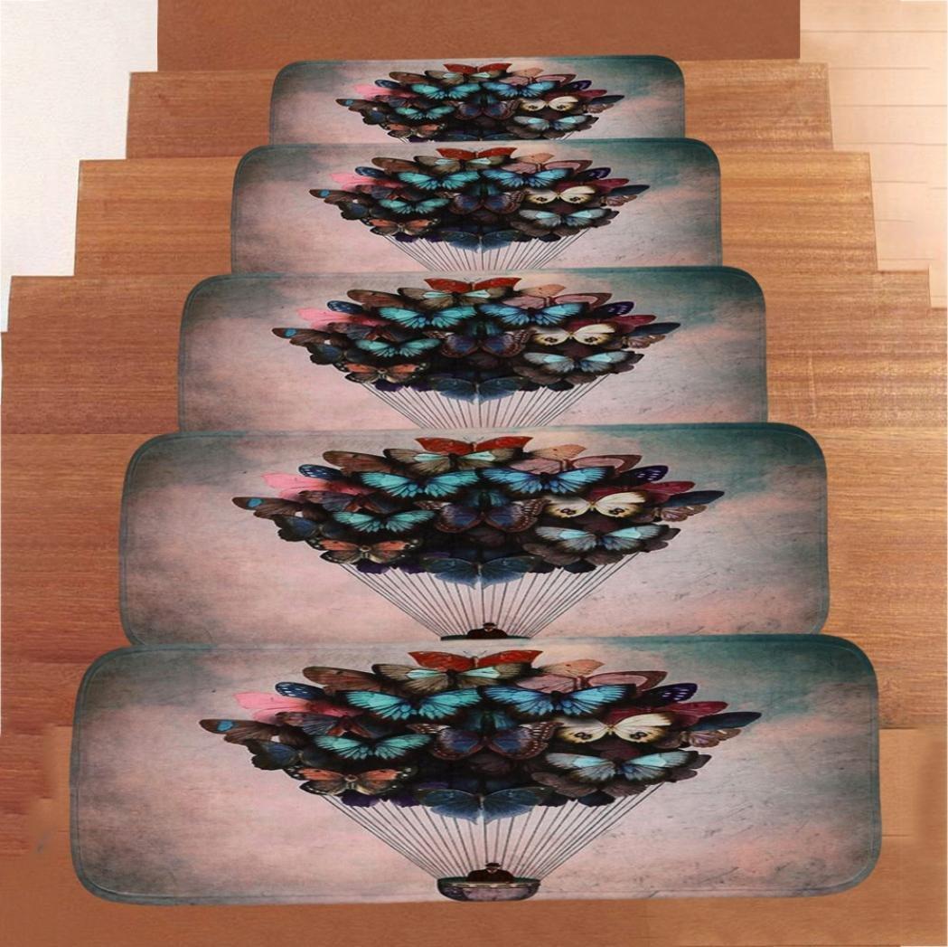 YOYORI Stair Mat, 1Set StepBasic Non-Slip Coral Fleece Resistant Carpet Stair Mat Stair Tread Carpet Indoor Durable Mat Self Adhesive Floor Staircase Mat (G)