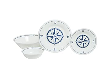 Amazon.com | Galleyware Company Compass Rose 13 Piece Tempered Glass ...