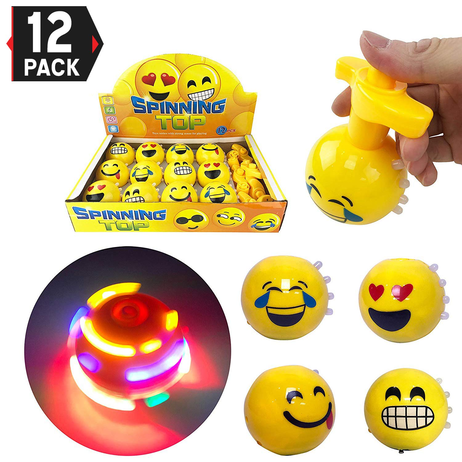 Set of 12 Large 3-inch LED Light Up Flashing Emoji Spinning Tops with Gyroscope and Music, Novelty Bulk Toys Party Favors by Liberty Imports