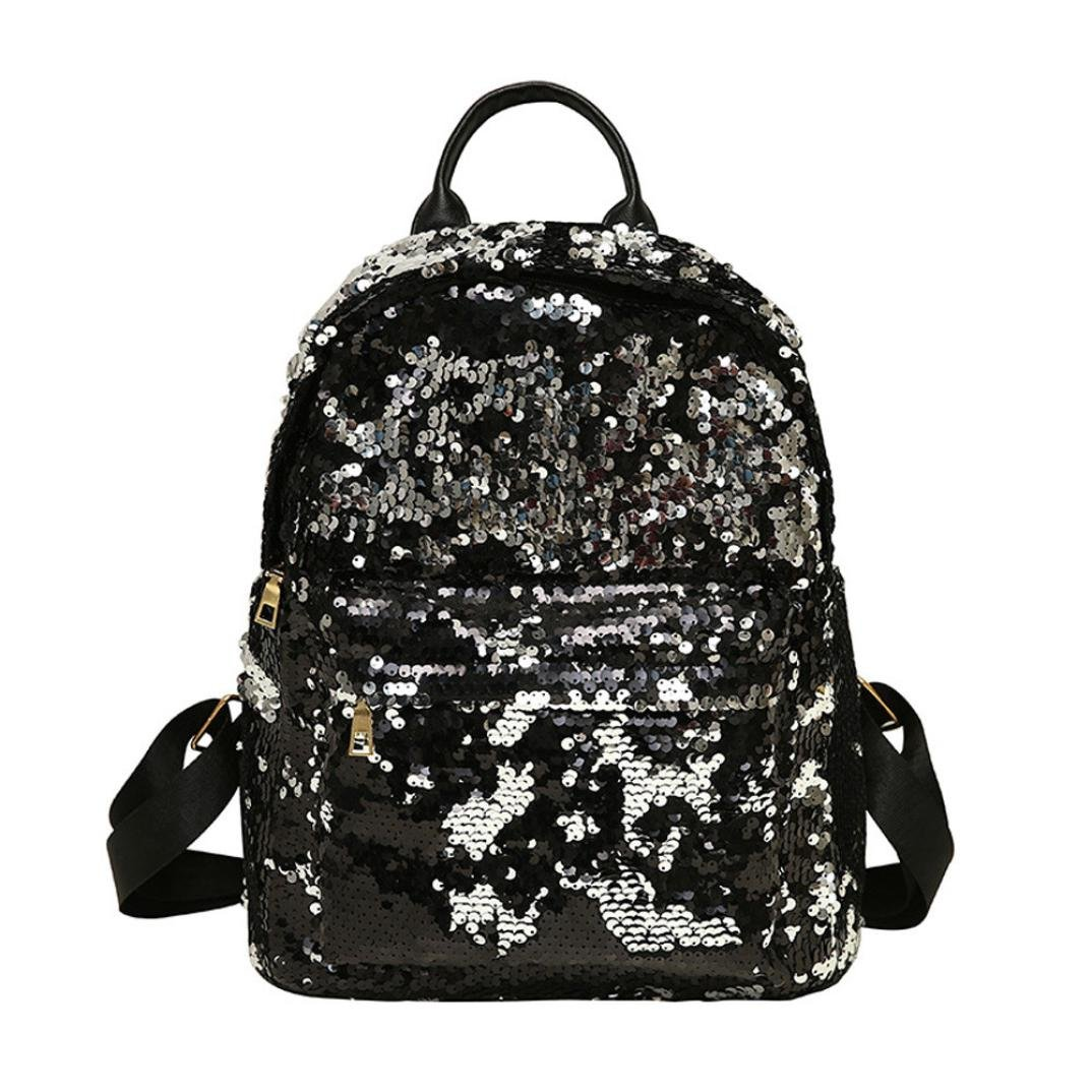 Girls Backpacks,Chartsea Girls Fashion School Style Sequins Travel Satchel School Bag Backpack Bag (Black)