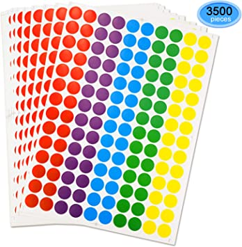 3//4 Inch Diameter Round Stickers Pack of 3500 EAONE Color-Code Dot Labels Neon Stickers Removable for Write//Print
