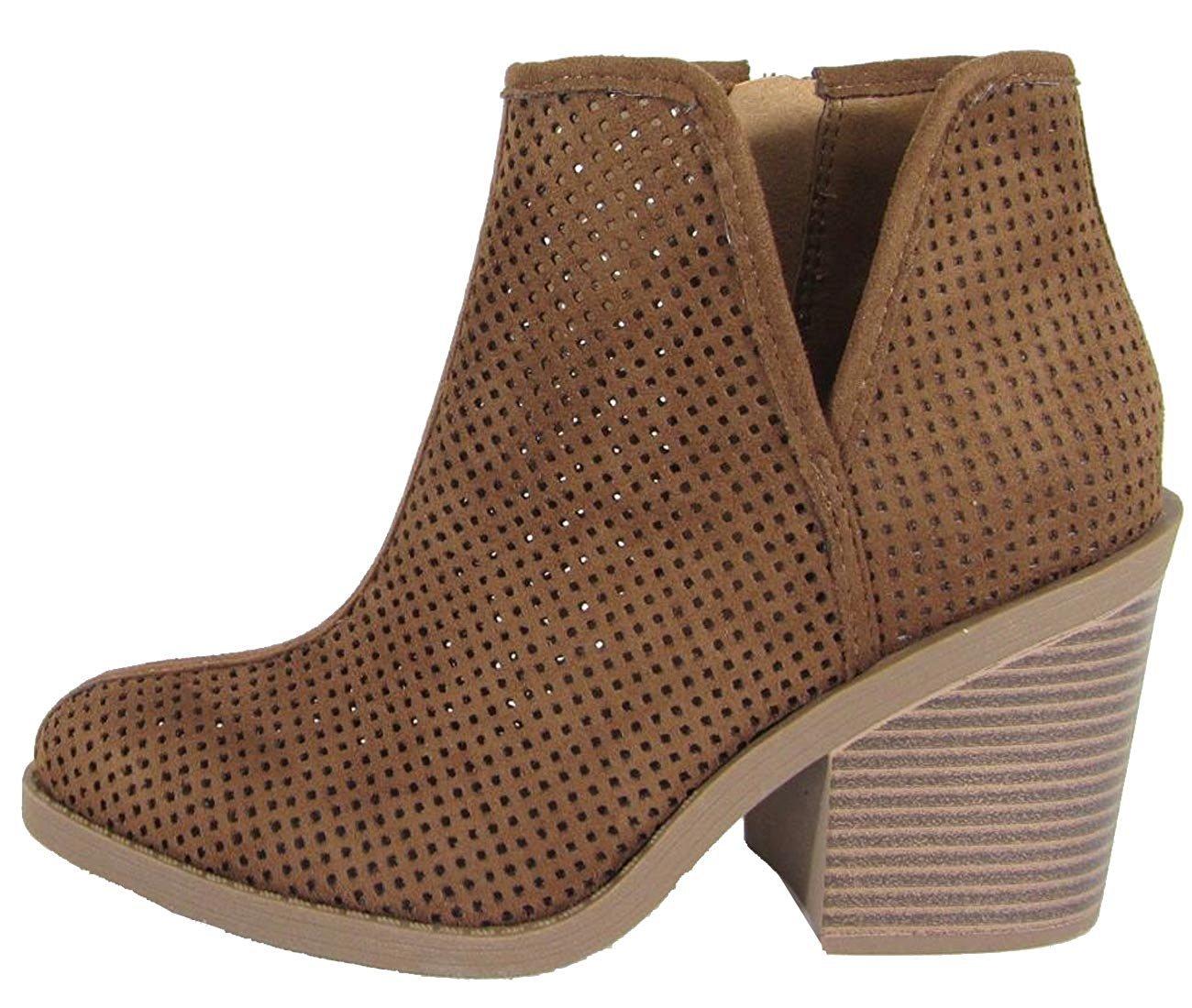 MVE Shoes SodaWomens Tarpon Perforated Stacked Block Heel Ankle Bootie B074HG6RYY 8.5 B(M) US|Cognac Isu