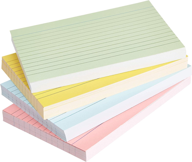 AmazonBasics - fichas de cartulina con rayas, tamaño A6, Varios colores (Paquete de 200)