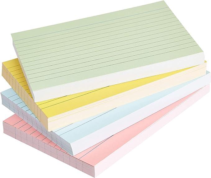 AmazonBasics - fichas de cartulina con rayas, tamaño A6, Varios colores (Paquete de 200): Amazon.es: Oficina y papelería