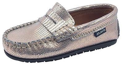 da21aef43 Atlanta Mocassin Girl s Rose Gold Printed Metallic Leather Slip On Moccasin  Loafer Flat Shoe 32 M