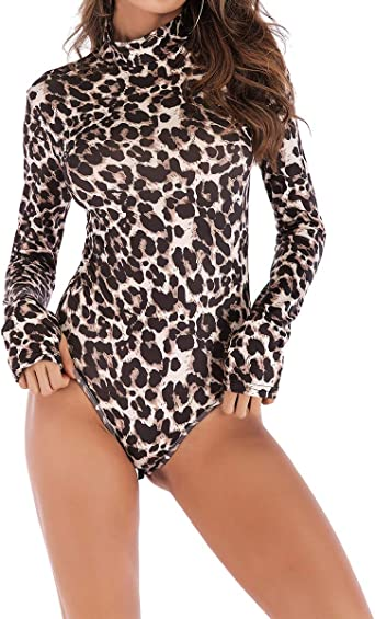 Women Leopard One Piece Outfits Off Shouler See Through Long Sleeve Bodycon Jumpsuits S XXL