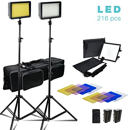 2 Sets of 216 LED Dimmable Ultra High Power Lighting Panel with Collapsible  Light Diffuser, 4 Color Gel Filter Light Stand, Battery/Charger, and Carry
