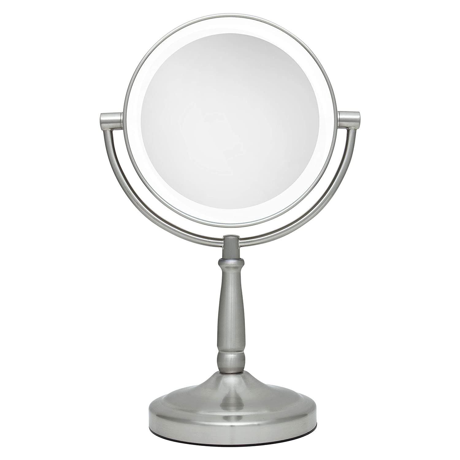 Amazon Com Zadro Led Lighted Dual Sided 5x 1x Magnification Cordless Vanity Beauty Makeup Mirror Satin Nickel 7 Inch Ledv45 Personal Makeup Mirrors Beauty