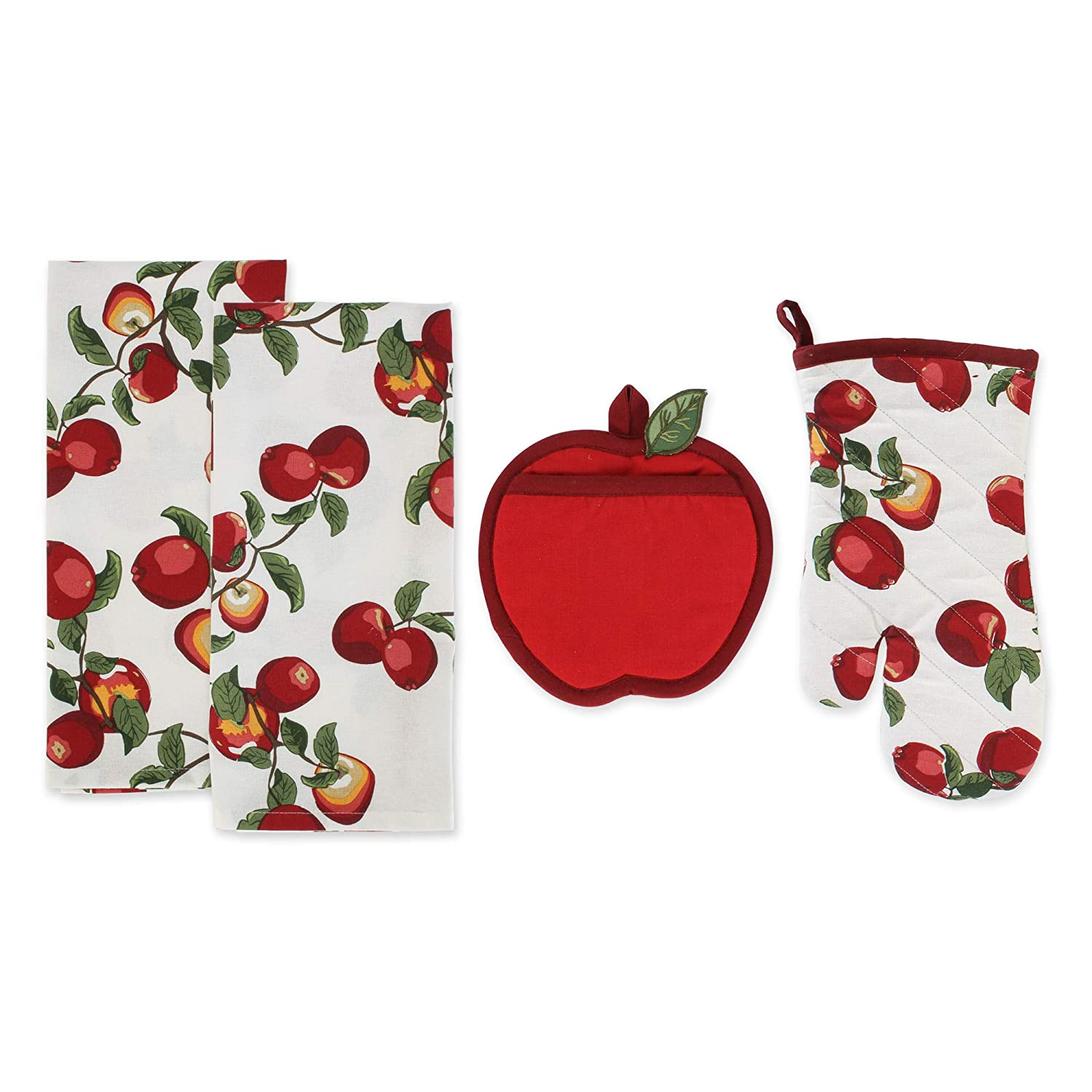 DII Apple Orchard Kitchen Textiles, Potholder 8x8, Oven Mitt 7x13, Dishtowels 18x28, 4 Piece