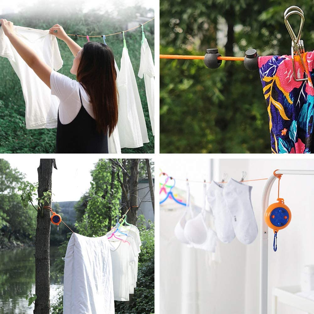 Bestine Retractable Washing Lines 8m Heavy Duty Clothes Line /& Camping Washing Line for Indoor Outdoor Clothesline Laundry Drying with 10 Fixed Buckles and 20 Clothespins