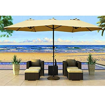 Beautiful Patio Umbrella Large 14ft Sun Shade Effect With Crank Lift Double Sided  Alluminum Pole Outdoor
