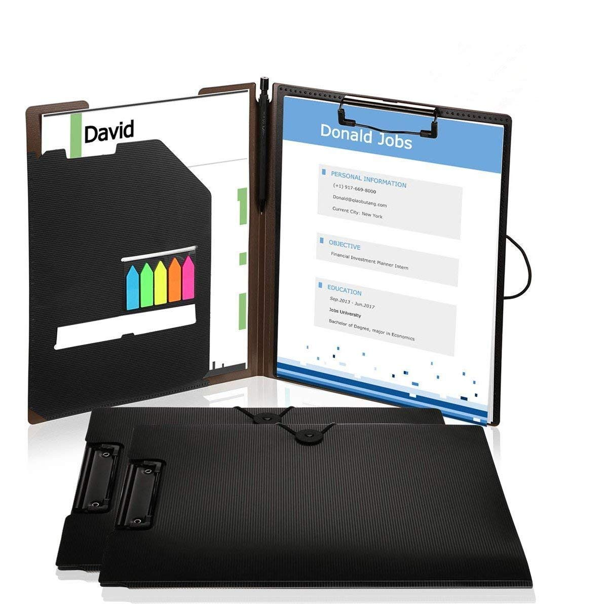 Clipboard Folders, Kakbpe Bussiness Letter Size Padfolio with Refillable Notepads, Give a Total of 100 Note Page Markers in Five Colors-Black, Letter Size …
