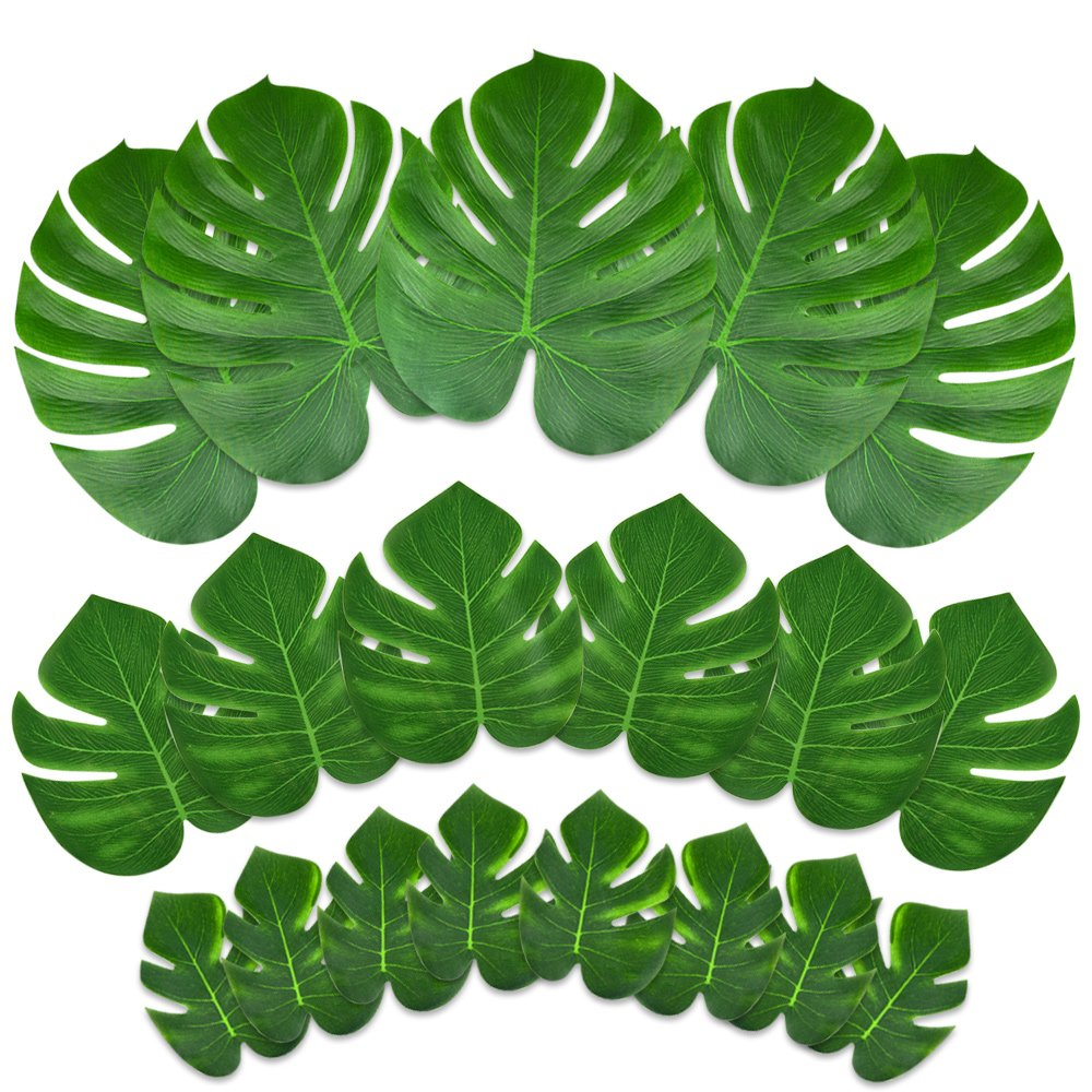 KUUQA 24 Pcs Artificial Tropical Leaves Hawaiian Luau Party Decor Medium Simulation Tropical Monstera Plant Leaves Safari Jungle Beach Theme Birthday Party Decorations Supplies KQ522