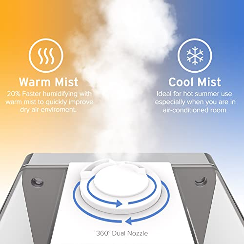 Levoit Humidifiers Vaporizer, Warm and Cool Mist Ultrasonic Air Bedroom Humidifier