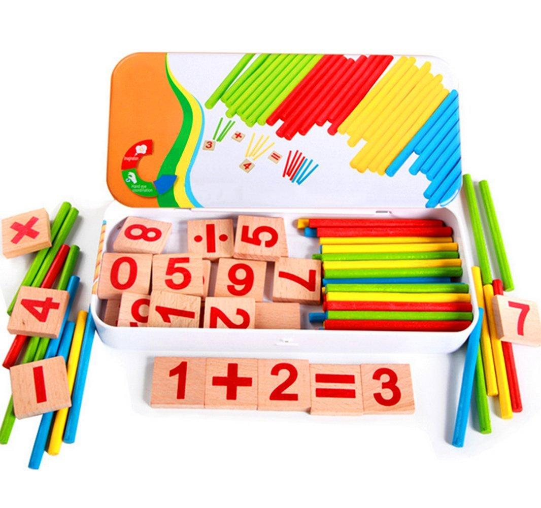 Scrox Montessori En Bois Éducation Précoce Puzzle Jouets Ensemble Math Éducation Blocs Éducatifs Enfants Mathématiques Jouets Éducatifs pour Âge 3+