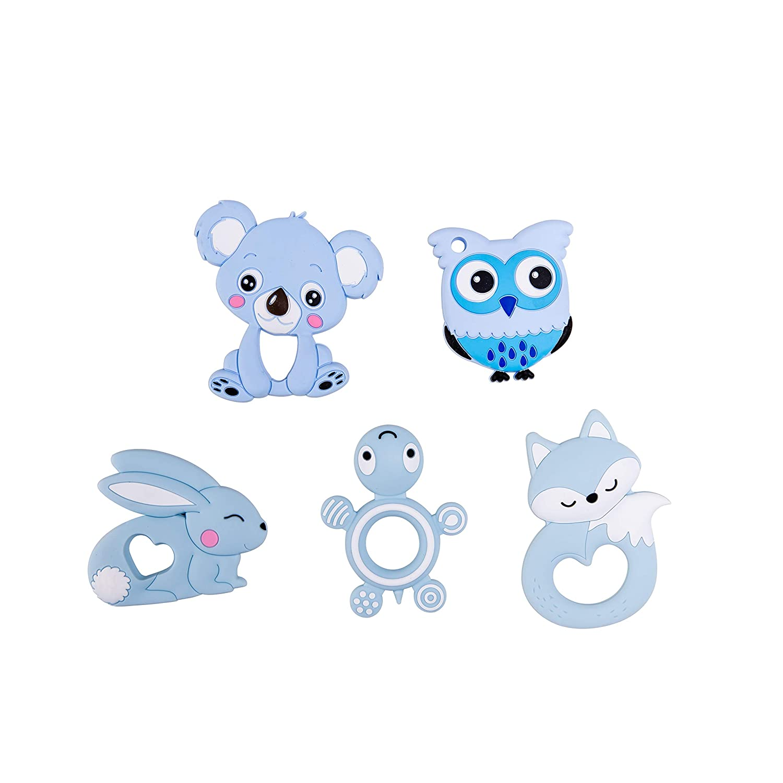 Promise Babe Silikon Kinderkrankheiten Anh/änger 5 St/ück Baby Bei/ßring Spielzeug DIY Schnuller Clip Zubeh/ör Silikon Koala Fox Pflege Dusche Geschenk Blau