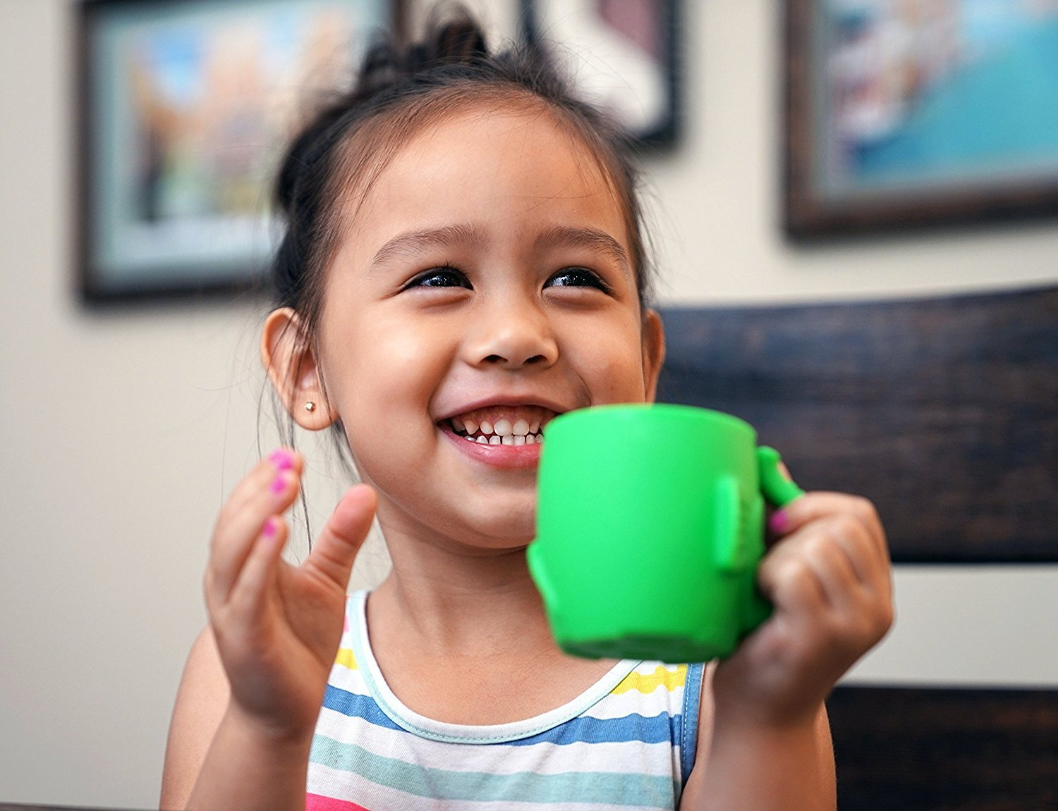 Baby Kid Sippy Cup Mug For Toddlers Learning Cup Elephant Design Great For Baby's Interaction Dexterity Food Grade Silicone BPA FREE Bambini Bear - Lime Green by Bambini Bear (Image #7)