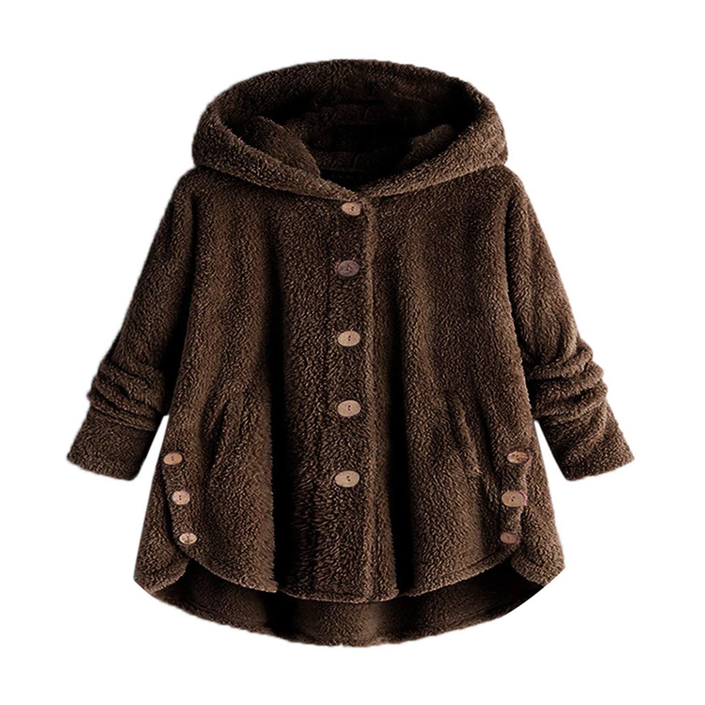 Women Jacket Winter Button Loose Warm Hoodie Long Chamarra ...