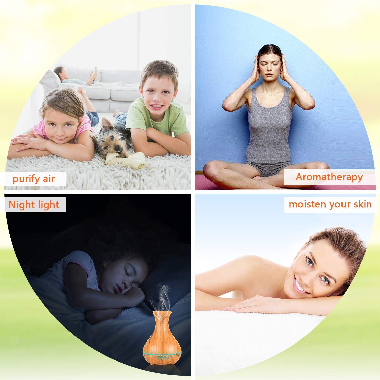 PEMOTech Ultraschall /Öl Diffusor Holzmaserung Luftbefeuchter Duftzerst/äuber Humidifier Aromatherapie Zerst/äuber 7 Farben LED Licht Nachtlicht f/ür Babies Kinder Haus Yoga B/üro Aroma Diffuser 400ml