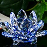 Lotus Crystal Lotus Flower Tea Light Candle Holder, Decor Collection,Valentine's Day Decor Gifts,Tuscom (Blue)